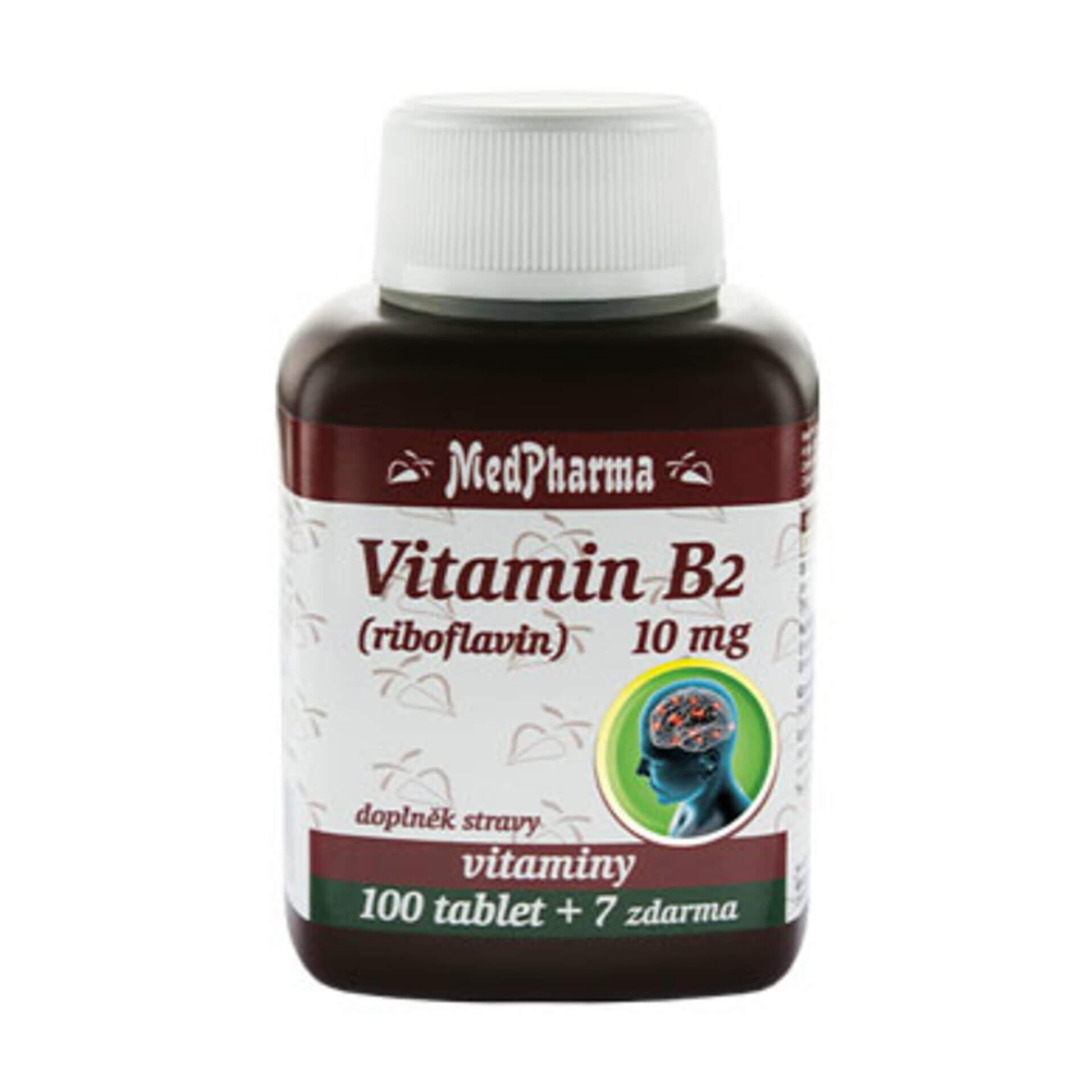 Levně MedPharma Vitamin B2 (riboflavin) 10 mg 107 tablet