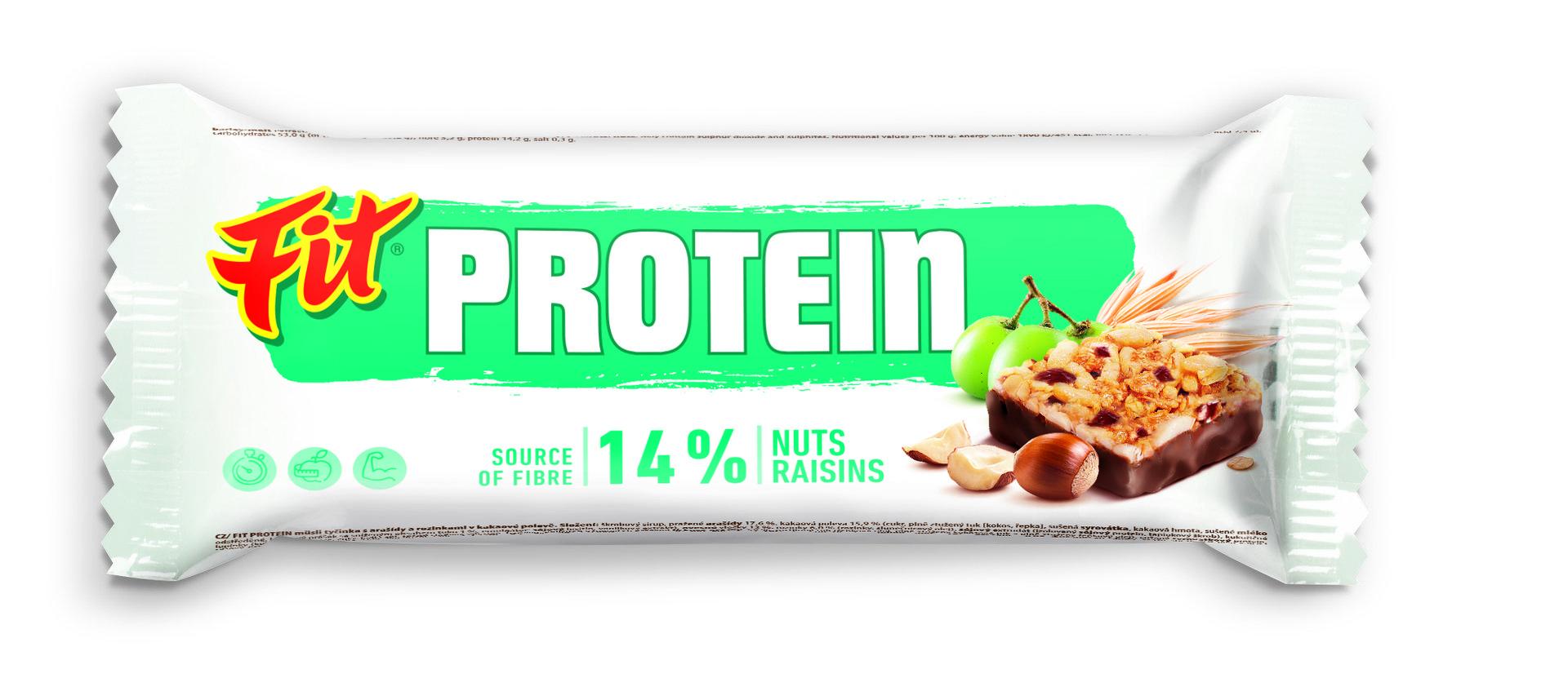 Fit Protein oříšek a rozinka kakao 35 g - expirace
