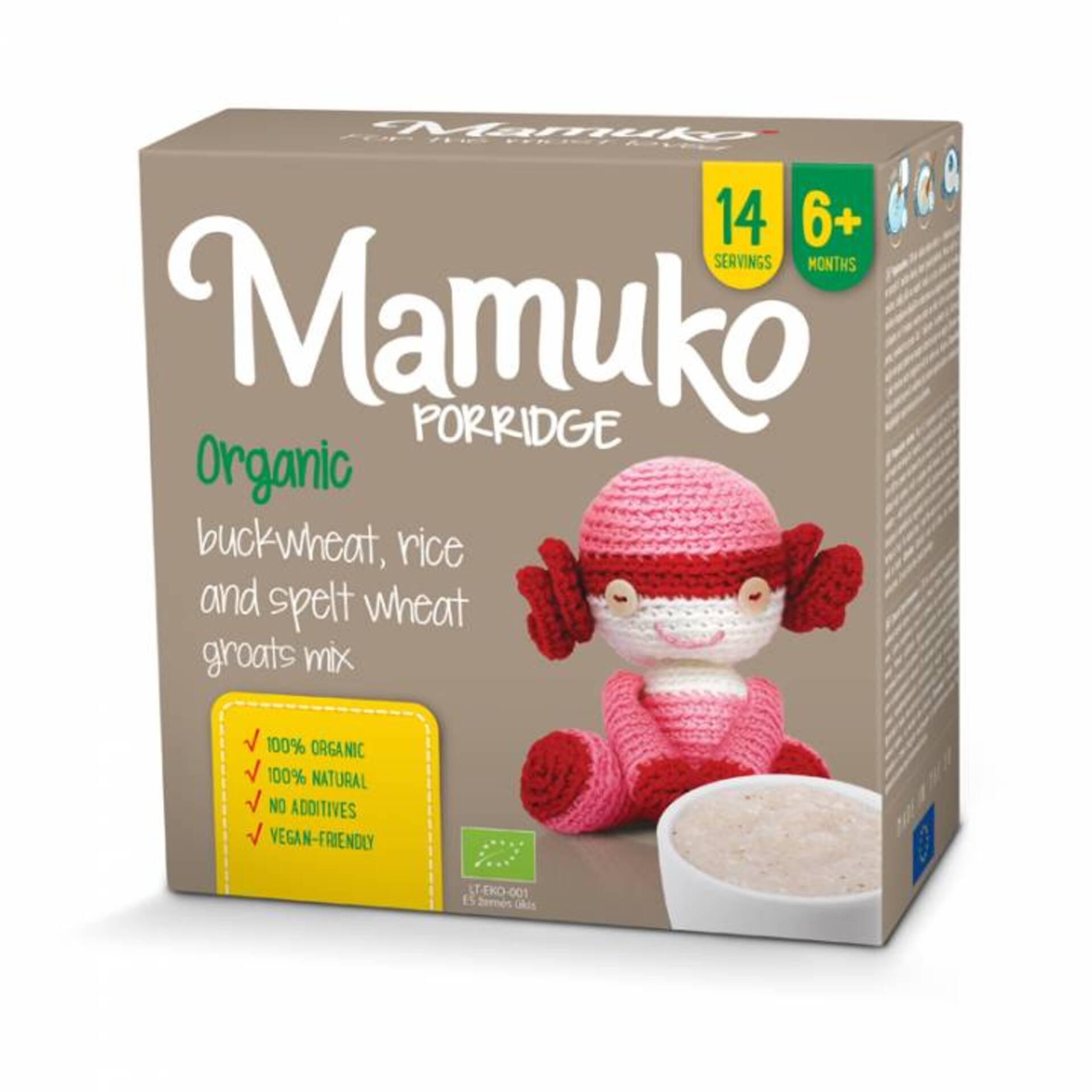Levně Mamuko BIO kaše hnědá pohanka, špalda, rýže 240 g