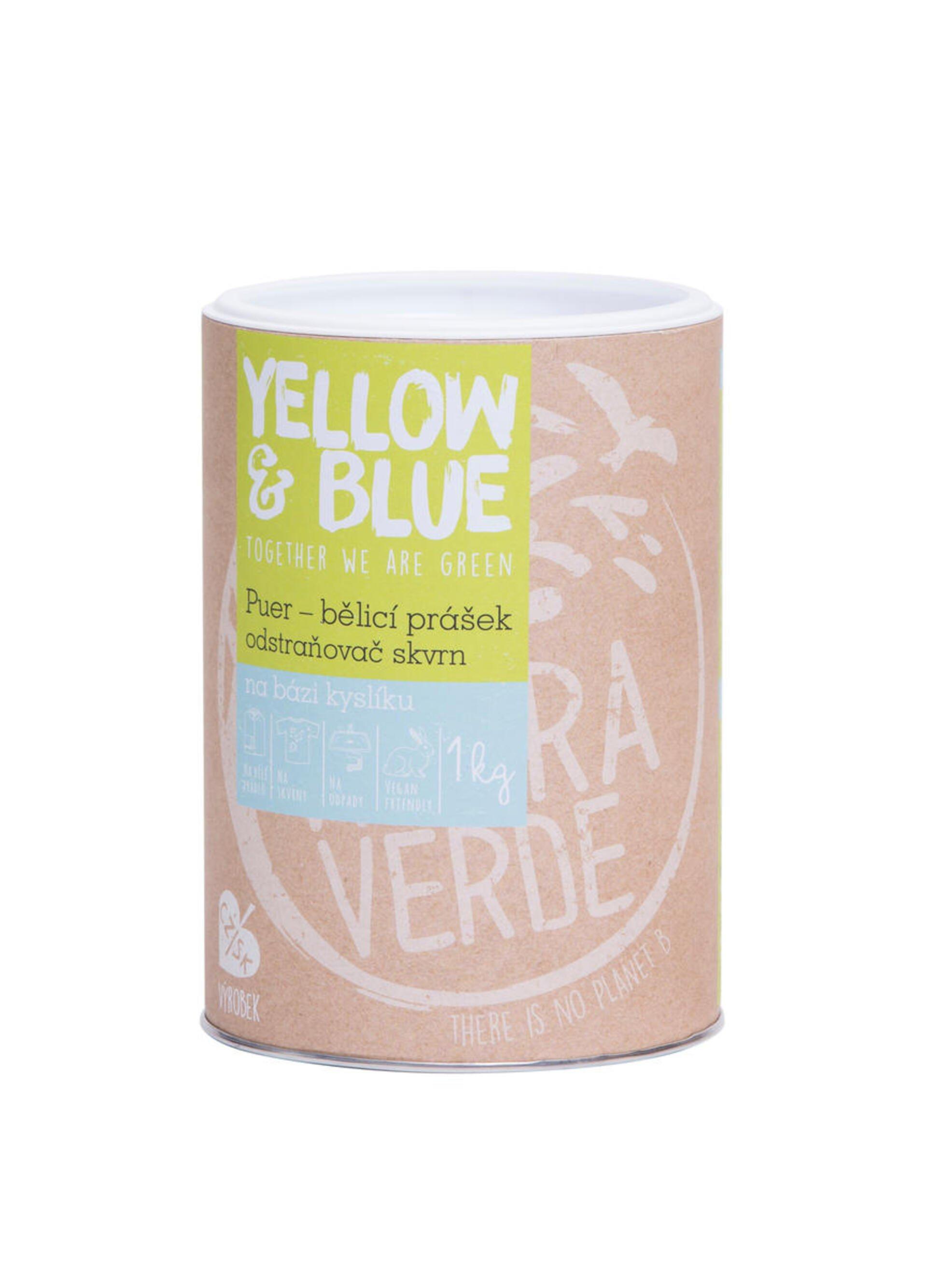 Yellow & Blue Puer bělicí prášek a odstraňovač skvrn na bázi kyslíku (dóza) 1 kg