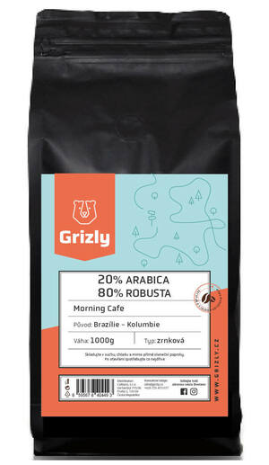 GRIZLY Zrnková káva 20/80 Morning Coffee 1000 g