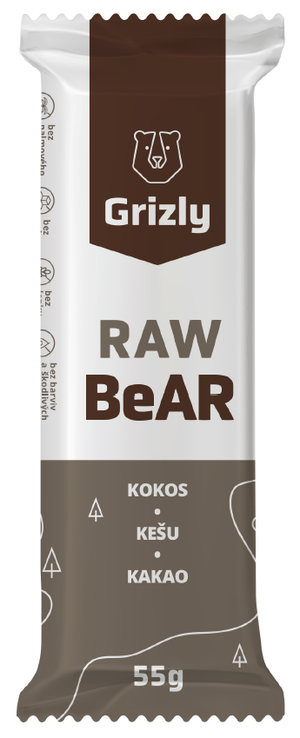 GRIZLY RAW Bar kokos-kešu-kakao 55 g