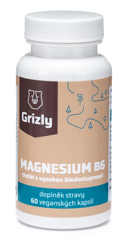 GRIZLY Magnesium B6 bisglycinát 60 tablet